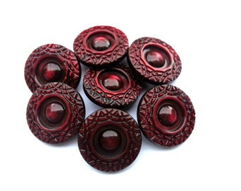 6 Vintage flower buttons, warm red, high quality-choose size