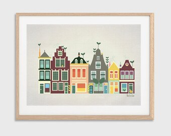HOLLAND | Baby Went to Amsterdam : Modern Townhouses Illustration Retro Art Wall Decor Print