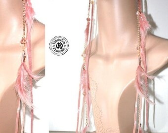 1 earring unique solo chains beads & feathers leather chains powder pink and gold beads