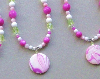 Girls Necklace, Hot Pink and Sparkling Lime with Sterling Silver Clasp, Small, GNS 143