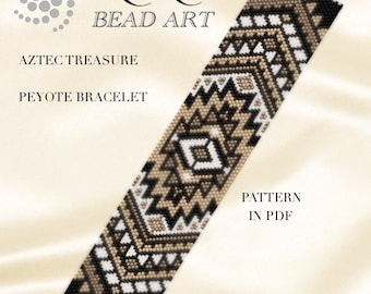 Peyote pattern for bracelet - Aztec treasure peyote bracelet pattern in PDF - instant download