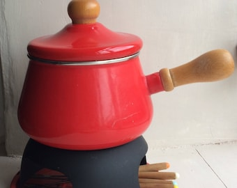 Fun Post Box Red  Enamel Fondue Pan/Pot and stand  with accessories Perfect for cosy Valentines suppers...