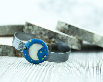 Blue moon copper enamel cuff bracelet, celestial jewelry, moon and stars, hammered texture, torch fired enamel,hand crafted, nickel free