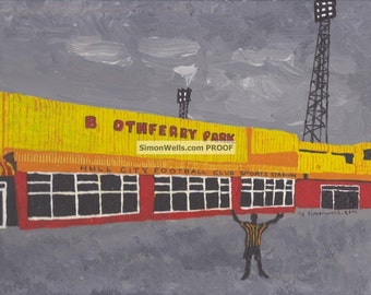Hull City Boothferry Park Limited edition A3 silk/gloss poster of Original acrylic painting from Kingston upon hull
