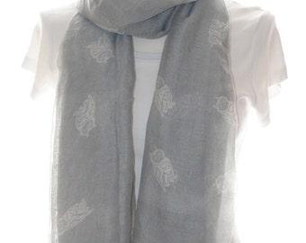 Grey owl bird Scarf shawl, Beach Wrap, Cowl Scarf,owl print scarf, cotton scarf, gifts for her