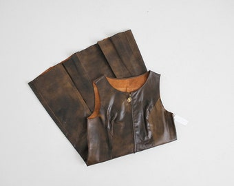 marbled leather dress | zip up dress | brown leather dress