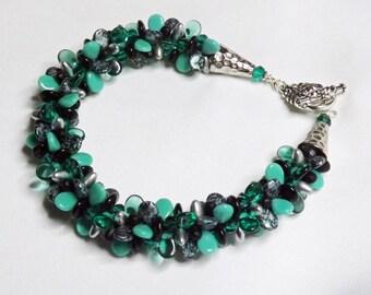Kumihimo Bracelet - Handcrafted Green, Black, and Silver Bracelet -