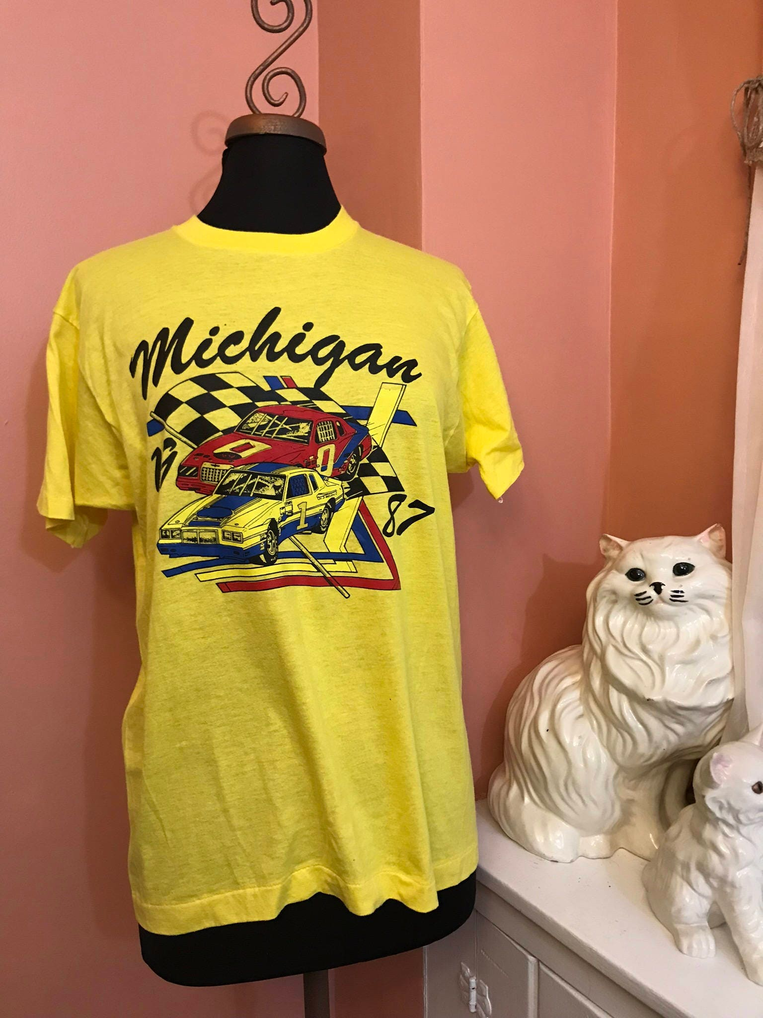 Vintage 80s T-Shirt, Screen Stars, Michigan, Muscle Car, Racecar, L ...