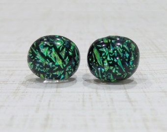 Green Earrings, Post Earrings, Hypoallergenic Studs, Fused Glass Jewelry, Accessories, Gifts Under 20 - Reagon - 1507-6