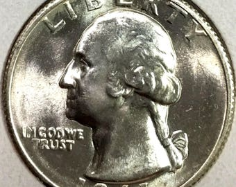 Lot(1 Coin) 1941 P GEM BU Washington Silver Quarter From Original Roll OBW Nicely Struck #!5