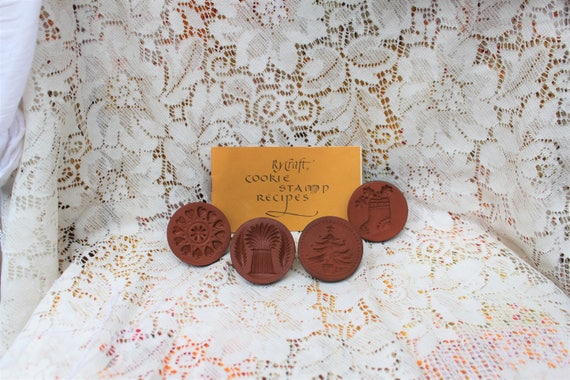 Rare Vintage Rycraft Cookie Stamps with Recipe Book/Vintage Baking Supplies/1975 Rycraft Cookie Recipe Book and lot of terra cotta stamps