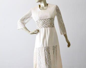 1970s white dress, vintage bohemian lace dress, peasant dress