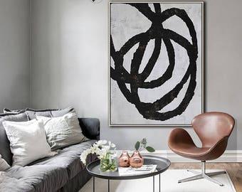 Original Painting Black White Canvas Art, Large Geometric Art, Vertical Wall Art Contemporary Painting - Ethan Hill Art No.H98V