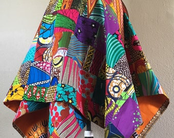 Sassy African Wax Print Patchwork Asymmetrical and Reversible Wrap Skirt.  You Can Pick Reverse Print 100% Cotton Beauty
