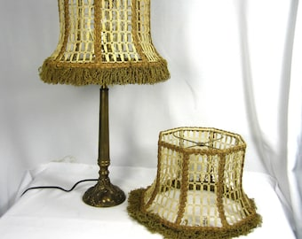 Lamp Shade Handmade Custom PAIR Octagon Bell Mesh with Custom Fringe