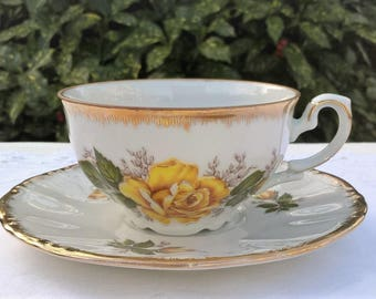 Kronester Bavaria teacup and saucer, vintage teacup with yellow rose