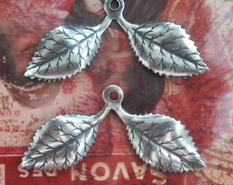 TWO Leaf sprigs, petals, brass stampings, brass charms, metal leaves, made in the usa, Silver Ox finish