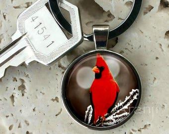 Cardinal keychain, key chain, key ring, key fob, cardinal keychain, cardinal key chain, gift, cardinal, gift for woman, keychain #AN156K