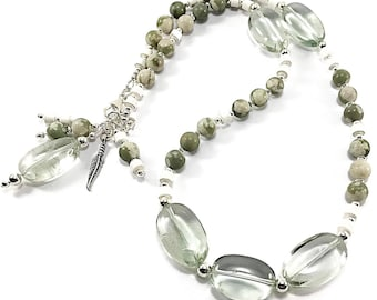 Green amethyst, gemstone necklace, boho necklace, sterling silver necklace, necklace and bracelet in one, convertible jewelry, ooak