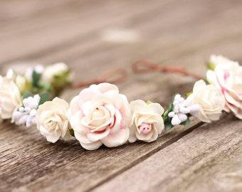 Bridal Hair Crown Headpiece Flower Crown Blush and White Flower Hair Crown Head Wreath Blush Flower Crown Wedding Flower Crown Bridesmaid