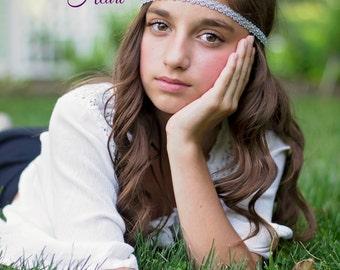 Silver Boho Headband - Adult Headband - Bohemian Headband - Boho Headband - Forehead Headband - Hippie Headband - Sparkle Headband - Halo