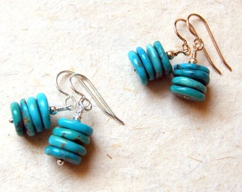 Turquoise Cairn Earrings - Campitos Mine Turquoise - sterling silver OR gold filled