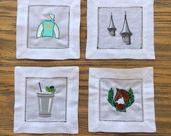 Kentucky Derby Inspired Embroidered Linen Napkin Set