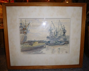 AT THE DOCKS Painting by Winifred Pickford Pen & wash Original Dockyard