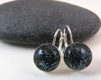 Smoky Grey Earrings - Sterling Silver Leverback Earrings - Grey Glass Earrings - Dichroic Earrings