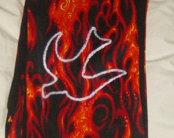 Deacon Clergy Vestment Stole Pentecost Holy Spirit Red Flames with embroidered descending white dove