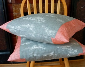 Grey White Scenic Landscape Clouds Pink Red Tsumugi Silk Vintage Japanese Wool Kimono Fabric Pillow Cushion Cover