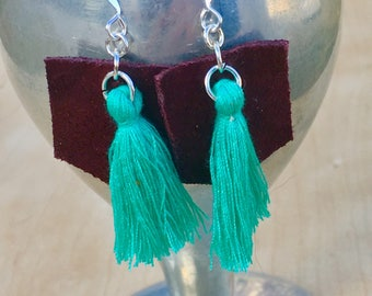 Leather Geometric Earrings, Abstract Wine Leather with Sea Green Cotton Tassels