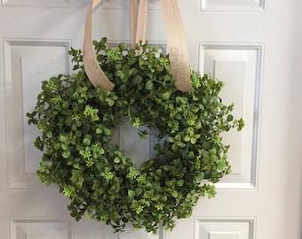 Summer Boxwood Wreath, Year Round Wreath, Rustic Farmhouse Wreaths, Wreaths  For Front Door