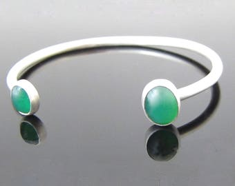 Chrysoprase Green Reverse Sterling Silver Cuff Bracelet, Gift For Her, Limited Production, Unusual Jewelry, Arm Candy, Stacking Cuffs