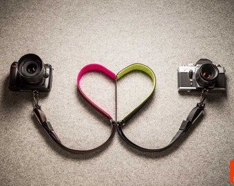 Leather Camera Sling Strap - Brown - 12 color options of wool felt padding