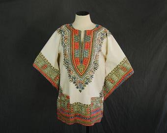 vintage 70s Dashiki Shirt - White Angel Sleeve Shirt Boho Ethnic African Batik Caftan Top Sz M L