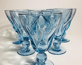 Fostoria Fairmont Blue Footed Ball Stem Glasses, Set of 6, Blue Glass Water Goblets Ball Stem, Vintage Blue Pedestal Ball Stem Water Glasses
