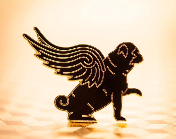 Pug Wings Enamel lapel pin