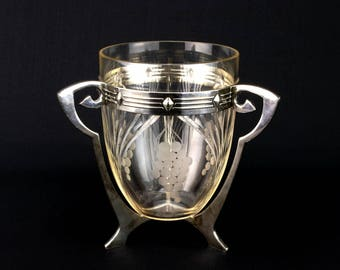 WMF Art Nouveau Silver Plated Ice Bucket Cut Glass Antique German Edwardian Early 1900s