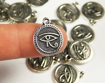 5 Pcs - 18x15mm Silver Eye Of Horus Charms - Eye Of Ra - Silver Charms - Jewelry Supplies