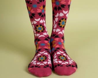 Men's colorful dress socks in marsala   Mediterranean tiles design