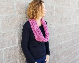 Pink Chunky Knit Gift, Pink Crochet Gift, Winter Chunky Scarf, Pink Oversized Cowl, Pink Fall Boho, Pink Cowl Knit, Pink Winter Knit Scarf