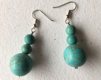 African Earrings: Turquoise