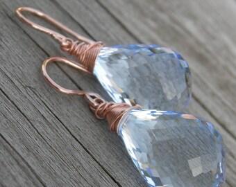 Luxe Sky Blue Topaz Rose Gold Earrings December Birthstone