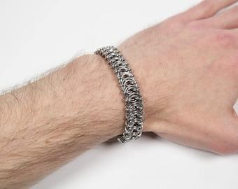 Vertebrae Bracelet, Chainmaille Bracelet, Stainless Steel, Chainmail Bracelet, Chain Maille, Chain Mail, Mens Bracelet, Mens Jewelry