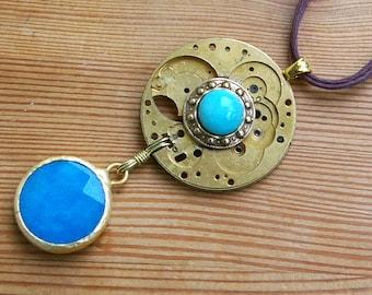 Amazonite Jade Pendant, Recycled Brass Watch, Relic Jewelry, Mythology Jewelry, Ocean Blue Pendant, Atlantis Jewelry, Recycled Pocket Watch
