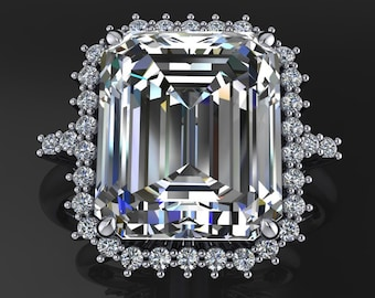 Private Listing for Cybil - cybil ring - 7 carat emerald cut NEO moissanite engagement ring, payment 3 of 4