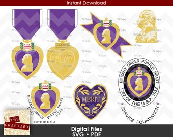 Purple Heart SVG Military Service Merit Medal Badge Combat Veteran SVG Order of Files