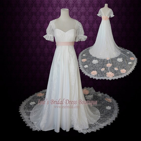 1920s Regency Style Empire Lace Wedding Dress with Sleeves and