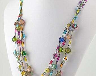 22 inch multicolor necklace, trellis ribbon, original Murano glass beads